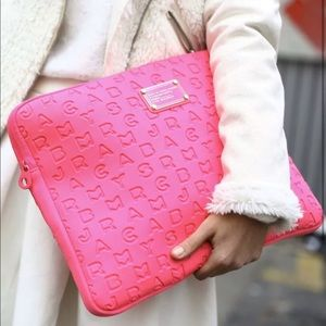 Marv By Marc Jacobs Hot Pink Fabric Laptop Sleeve
